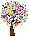 vector Easter tree with birds, eggs, flowers Stock Photo - Royalty-Free, Artist: lilac, Code: 400-07309267