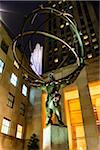 Close-up of Atlas sculpture at night, Rockefeller Center, Midtown, Manhattan, New York City, New York, USA