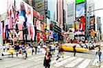 Busy intersection with people and traffic, Times Square, Broadway, Manhattan, New York City, New York, USA