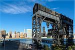 Close-up of restored gantries with view towards Manhattan skyline, Gantry Plaza State Park, Queen's, Long Island, New York City, New York, USA