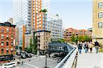 View of the High Line Elevated Park, (a public park built on an historic freight rail line elevated above the streets on Manhattan's West Side), Meatpacking District, Chelsea, Manhattan, New York City, New York, USA