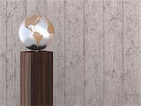 Illustration of metal globe on wooden stand, showing North and South America, studio shot on grey, wooden background Stock Photo - Premium Royalty-Freenull, Code: 600-07311008