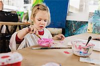 Portrait of Girl Painting in Classroom Stock Photo - Premium Royalty-Freenull, Code: 600-07311308