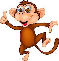 smiling chimpanzee - Vector illustration of dancing monkey Stock Photo - Royalty-Freenull, Code: 400-07314532