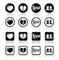 Love, relationship vector icons set isolated on white Stock Photo - Royalty-Freenull, Code: 400-07317876