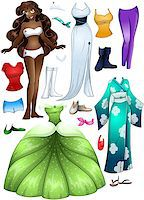 A vector illustration of an african girl template outfit and accessories dress up pack. Stock Photo - Royalty-Freenull, Code: 400-07324788