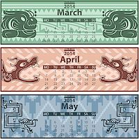 Vector of spring calendar 2014 with mayan ornaments Stock Photo - Royalty-Freenull, Code: 400-07326848
