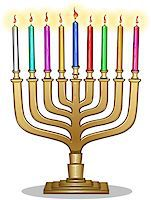 Vector illustration of Hanukkiah with candles for the Jewish holiday Hanukkah. Stock Photo - Royalty-Freenull, Code: 400-07332396