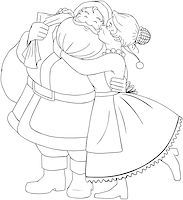 Vector illustration coloring page of Mrs Claus kisses Santa on cheek and hugs him for christmas. Stock Photo - Royalty-Freenull, Code: 400-07332397