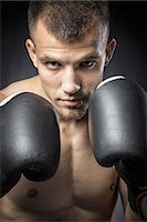 shirtless men - Portrait of male boxer in guard, Close Up Stock Photo - Premium Royalty-Freenull, Code: 6106-07350412