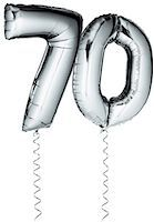 streamer - Silver balloons in the shape of a number 70 Stock Photo - Premium Royalty-Freenull, Code: 6106-07350591
