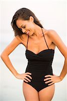 Woman Wearing Black Swimsuit with Hands on Hips Stock Photo - Premium Rights-Managednull, Code: 822-07355512