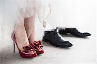 Close-up of Bride and Groom's Shoes Stock Photo - Premium Rights-Managed, Artist: Ikonica, Code: 700-07363855