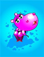 Pink hippopotamus wearing thong underwear, holding whip, rear view Stock Photo - Premium Royalty-Freenull, Code: 618-07374420