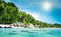 landscape of tropical island beach with perfect sky Stock Photo - Royalty-Freenull, Code: 400-07410516