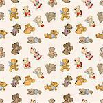 Seamless pattern -  cartoon toy bears