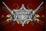 sheriff star with guns, this illustration may be useful as designer work