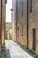 Narrow street in San Quirico in Tuscany, Italy Stock Photo - Royalty-Freenull, Code: 400-07415191