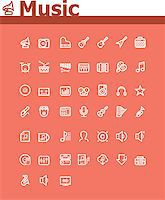 Set of the simple music related icons Stock Photo - Royalty-Freenull, Code: 400-07418824