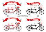 wedding invitation, tandem bicycles and ribbons, vector design elements