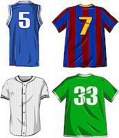 Vector illustrations pack of various sports shirts. Stock Photo - Royalty-Freenull, Code: 400-07421491