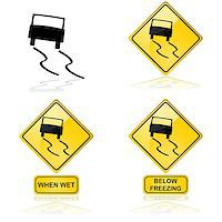 Icon showing a car skidding on a slippery road or surface Stock Photo - Royalty-Freenull, Code: 400-07421499