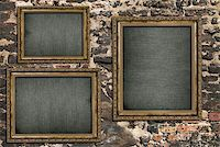Triptych with empty canvas over ruined brick wall Stock Photo - Royalty-Freenull, Code: 400-07421913