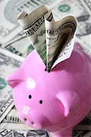 Stuffed piggy bank with US dollars Stock Photo - Royalty-Freenull, Code: 400-07428869