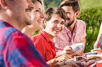 Group of friends sitting for breakfast outdoors Stock Photo - Premium Royalty-Freenull, Code: 649-07437521
