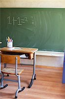 Desk and blackboard with sum Stock Photo - Premium Royalty-Freenull, Code: 649-07437854