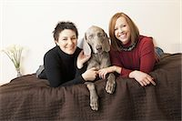 dog and woman and love - A same sex couple, two women with their Weimaranar pedigree dog between them. Stock Photo - Premium Royalty-Freenull, Code: 6118-07440847