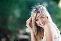 Portrait of  teenage girl in woodland Stock Photo - Premium Royalty-Freenull, Code: 614-07444195