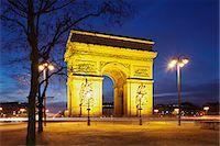 Arc de Triomphe at dusk, Paris, Ile de France, France, Europe Stock Photo - Premium Royalty-Freenull, Code: 6119-07451862
