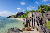seychelles - Rock Formations and Palm Trees, Anse Source d´Argent, La Digue, Seychelles Stock Photo - Premium Royalty-Freenull, Code: 600-07453855