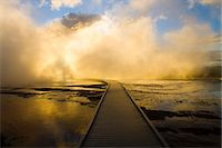 Boardwalk in Yellowstone Hot Springs Stock Photo - Premium Royalty-Freenull, Code: 618-07458454