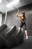 France, young woman with a hammer in a crossfit gymnasium.. Stock Photo - Premium Rights-Managed, Artist: Photononstop, Code: 877-07460396