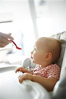 A baby girl eating Stock Photo - Premium Rights-Managednull, Code: 877-07460636