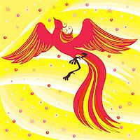 frbird - Beautiful graceful red firebird on abstract background with yellow shades. Hand drawing vector illustration Stock Photo - Royalty-Freenull, Code: 400-07462464