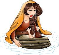 Vector illustration of Jochebed placing Moses in the nile. Stock Photo - Royalty-Freenull, Code: 400-07464291