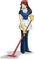 Vector illustration of a woman cleaning with mop for Passover. Stock Photo - Royalty-Freenull, Code: 400-07464298