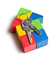 education loan - the house made from wooden toy blocks with keys Stock Photo - Royalty-Freenull, Code: 400-07481504