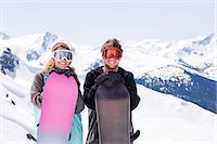 Young snowboarders, portrait. Stock Photo - Premium Royalty-Freenull, Code: 613-07492677