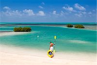 sandi model - Central America, Belize, Belize district, Little Frenchman Caye, Royal Palm Island, a young man with a kayak looks out to the Caribbean Sea Stock Photo - Premium Rights-Managednull, Code: 862-07495807
