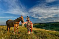 Lakota Indian in the Black Hills with Horse, Western South Dakota, USA. MR Stock Photo - Premium Rights-Managednull, Code: 862-07496312