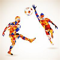 Silhouette Soccer Player and Goalkeeper in Mosaic Pattern, vector illustration Stock Photo - Royalty-Freenull, Code: 400-07499439