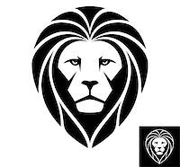 roar lion head picture - A Lion head logo in black and white. This is vector illustration ideal for a mascot and T-shirt graphic. Stock Photo - Royalty-Freenull, Code: 400-07511285