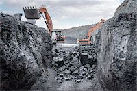Ancient deep coal workings in surface coal mine Stock Photo - Premium Royalty-Freenull, Code: 649-07520515