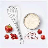 Flour and whisk for a birthday cake Stock Photo - Premium Rights-Managed, Artist: Photocuisine, Code: 825-07523003
