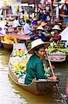 Fruit seller in the Damnern Saduak floating market, Bangkok, Thailand Stock Photo - Premium Rights-Managed, Artist: Robert Harding Images, Code: 841-07523503