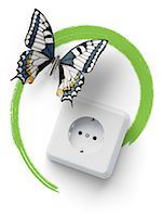 Socket with butterfly and green marker line Stock Photo - Premium Royalty-Freenull, Code: 618-07524234